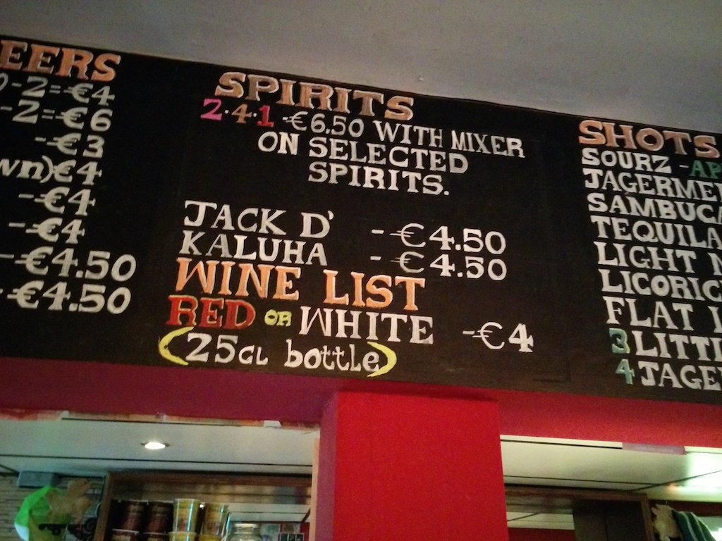 Wine List, Red or White